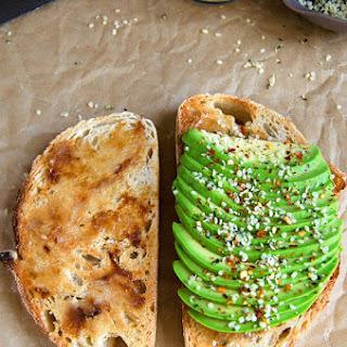 Roasted Garlic Avocado Toast + Hemp Seeds & Red Chili Flakes