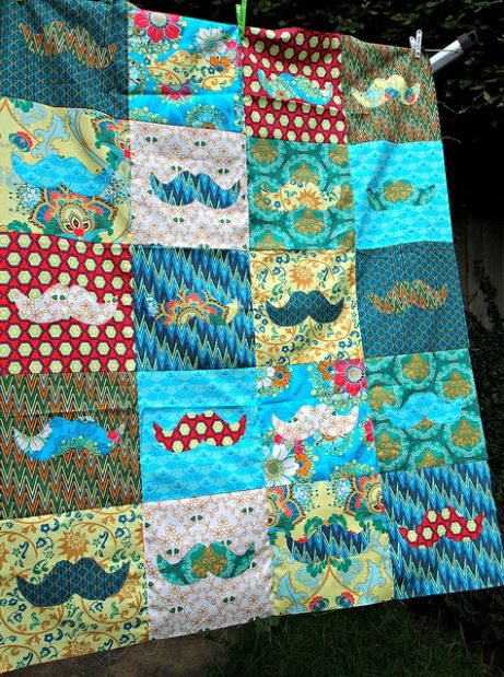 Patterned Patchwork Mustache Quilt on Craftsy