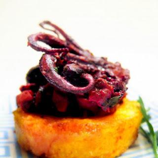Wine-Braised Baby Octopus with Saffron Polenta Cakes