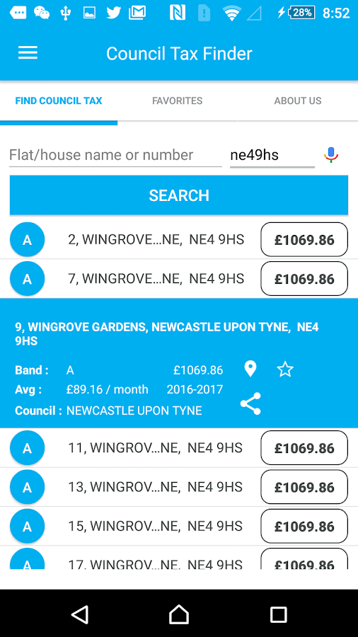 Council Tax Finder App- screenshot