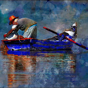man on a boat by John Kolenberg - Mixed Media All Mixed Media ( mexico, lake, boat, man, photo painted, , watercolour, painting, photographs, skills, photoshop, program, pen, technical, color, colors, landscape, portrait, object, filter forge )