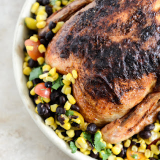 Chipotle Lime Butter Whole Roasted Chicken with Black Bean + Corn Salad