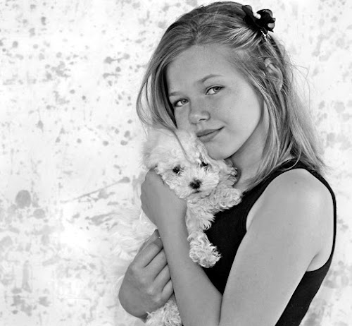 Girl with puppy by Lize Hill - Babies & Children Child Portraits