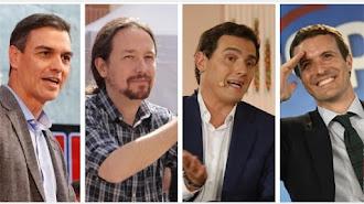 Sánchez, Iglesias, Casado y Rivera.