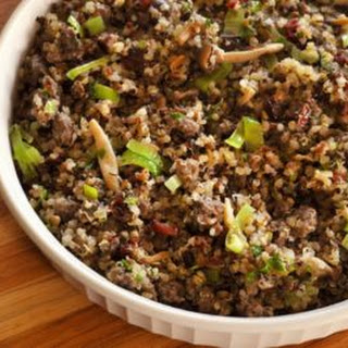 Sausage & Quinoa Dressing with Cranberries.