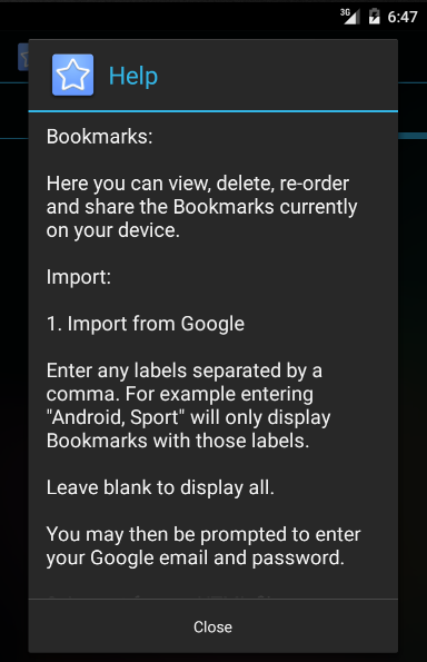 Bookmark Import Tool for AOSP- screenshot