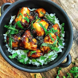 Spicy Mint Chicken over Rice.