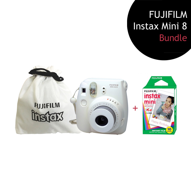 [Bundle] FUJIFILM Instax Mini 8 Camera (White) + Single Film Pack + Instax Pouch by My Pocket Net Sdn Bhd