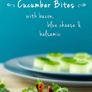Cucumber Bites With Bacon, Blue Cheese And Balsamic