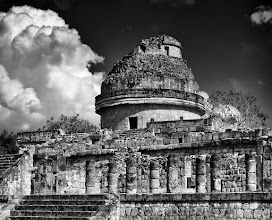 """Photo: """"El Caracol, Yucatan""""  Last January my wife and I spent a wonderful week in the Yucatan, this shot is from our visit to Chichen-Itza, I was blown away by age of the site, the size of the architecture, the advanced science and astronomy of the civilization, and the fact that the site was abandoned before the spanish arrived.  El Caracol, also known as the observatory, the photograh was taken in the middle of the day (not the best time for photo taking), I was fortunate enough to get an interesting cloud on that day."""
