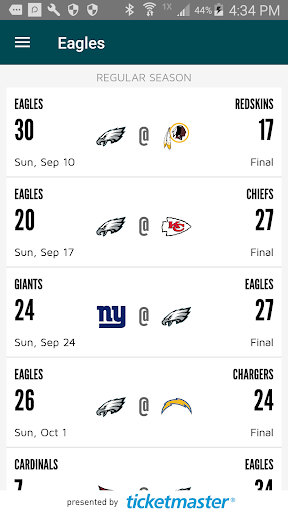 Eagles Official Mobile Screenshot