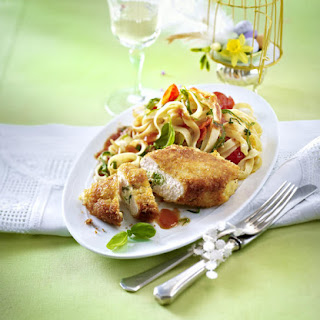 Stuffed Chicken with Tomato Tagliatelle.