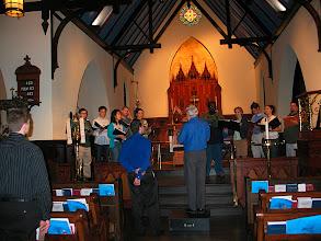 Photo: Dec. 2006: Rehearsal for fall concert at St. John's Episcopal Church.