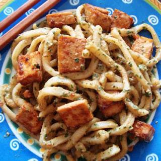 Vegan Udon Noodles in Cilantro Lime Peanut Sauce