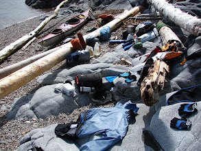 Photo: My gear drying in the sun at the campsite on Gribbell Island near Point Cumming.