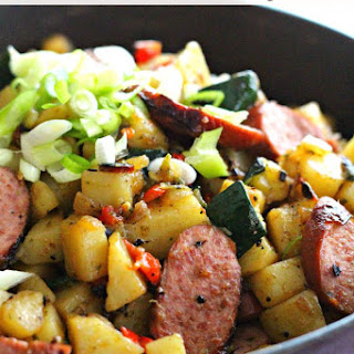 Skillet Potato Hash with Zucchini and Smoked Sausages Recipe
