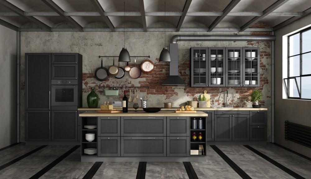 cocina industrial gris