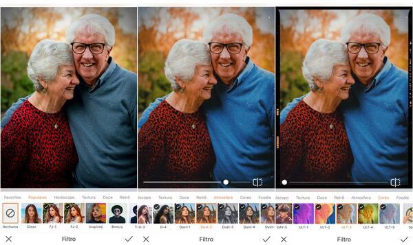 Foto de avós sorrindo sendo editada pelo AirBrush com Filtro