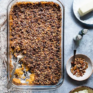 Paleo Easy Healthy Sweet Potato Casserole with Pecan Topping.