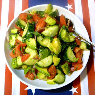 Cucumber, Tomato, and Avocado Salad.