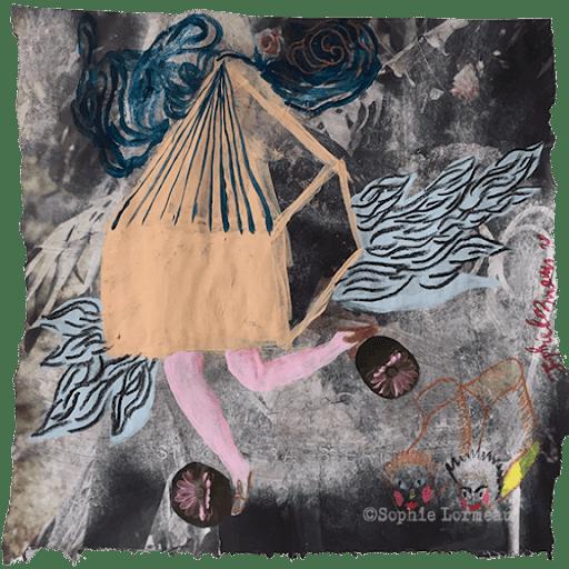 Maison-deracinee-la-maison-qui-s'enfuit-si-vite-la-maison-qui-s'enfuit-si-vite-jambes-poupee-enfance-deracinee-doll--sophie-lormeau-peinture-artiste-contemporaine-papier-magazine-upcycling-chagall-singuler-art-figuratif-recyclage-colorful-root-franch-artist