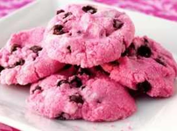 Pink Chocolate Chip Shortbread Cookies Recipe