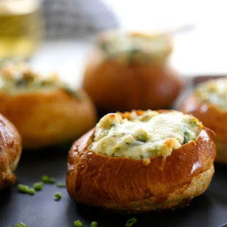 Mini Brussel Sprout & Spinach Dip Bread Bowls