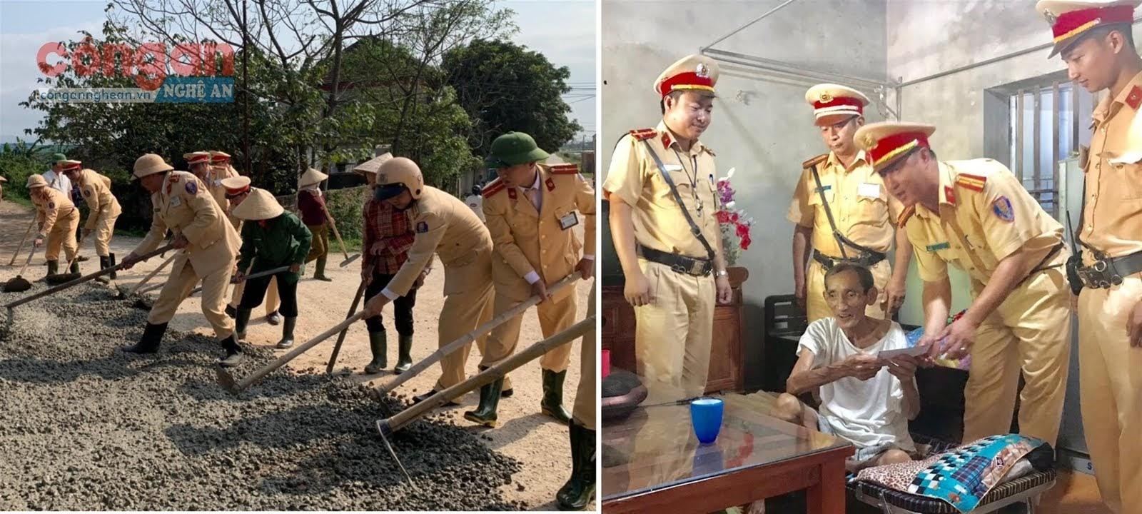 CSGT Công an huyện Hưng Nguyên đóng góp tiền lương cải tạo lại các tuyến đường xuống cấp và giúp đỡ hoàn cảnh khó khăn