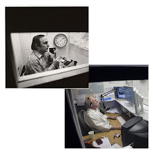 Photo: THEN AND NOW: Dr. Joe Sobel, in his radio booth in 1978 and 2012. AccuWeather does hundreds of radio broadcasts per day to hundreds of clients.