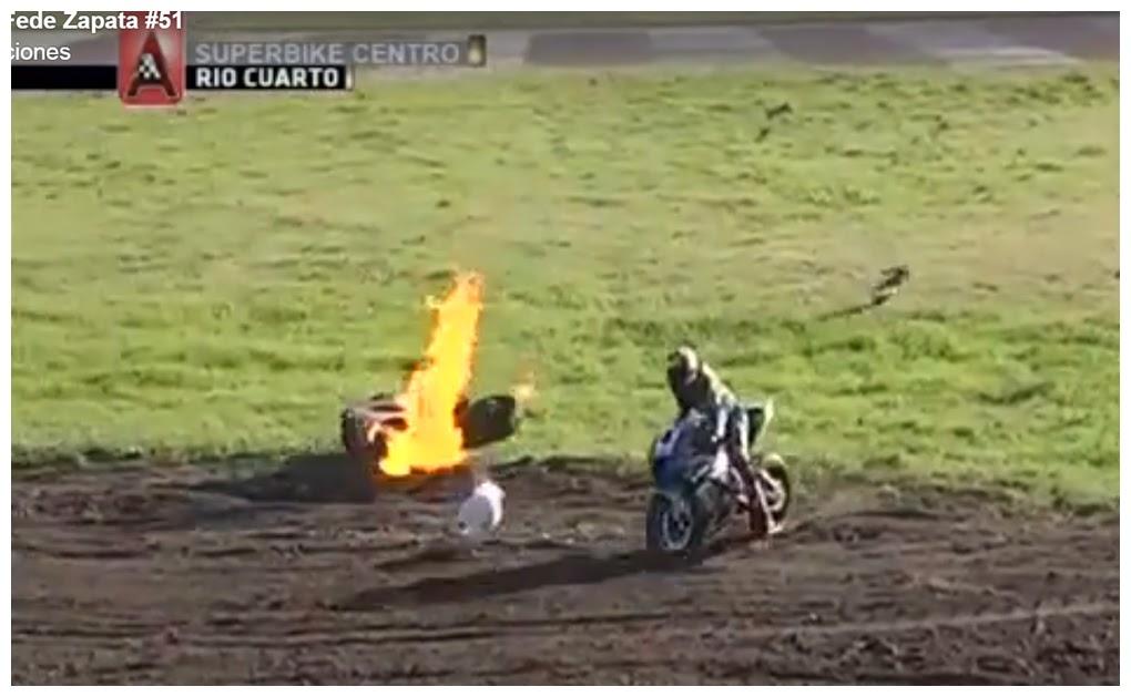 Un accidente con mucha suerte para Fede Zapata
