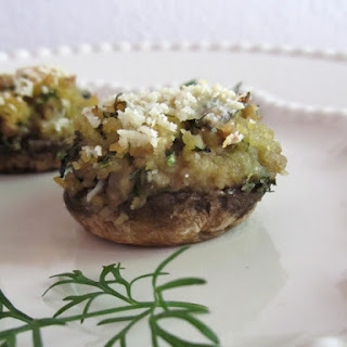 Mushrooms Stuffed with Corn Bread and Coriander.