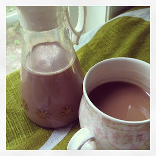 Homemade Coffee Creamer with Vanilla, Caramel and Chocolate.