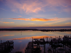 Photo: Sunrise over Core Sound, Beaufort, Shackelford Banks and Bulkhead Channel