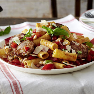 Rigatoni with Pork Fillet and White Bean Tomato Sauce