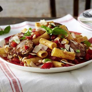 Rigatoni with Pork Fillet and White Bean Tomato Sauce.