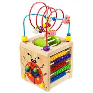 Cub din lemn masiv, Montessori, 6 in 1 - Buburuza