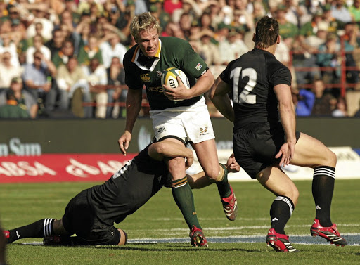 A golden age: Jean de Villiers in action against the All Blacks at Loftus Versfeld Stadium in Pretoria in 2006, when the Boks beat the Kiwis and De Villiers scored a stand-out try. Picture: GALLO IMAGES