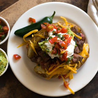 Carne Asada Stuffed Potatoes.
