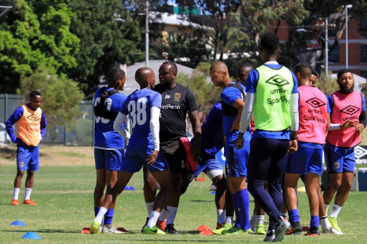 Benni McCarthy Head coach talking to players during the Cape Town City FC media open day at Hartleyvale Training Grounds on February 13, 2019 in Cape Town, South Africa.