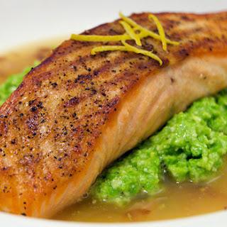 Seared Salmon with Pea Puree and Lemon Broth