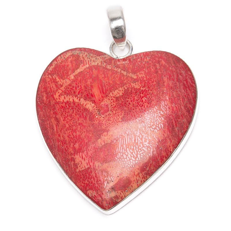 Korall, hjärta i silverhänge