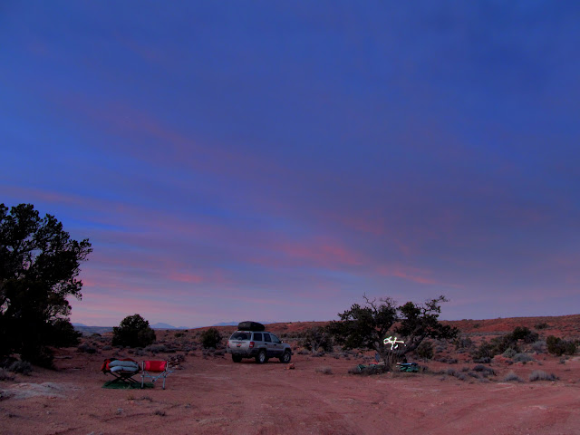 Pink and blue sky over camp
