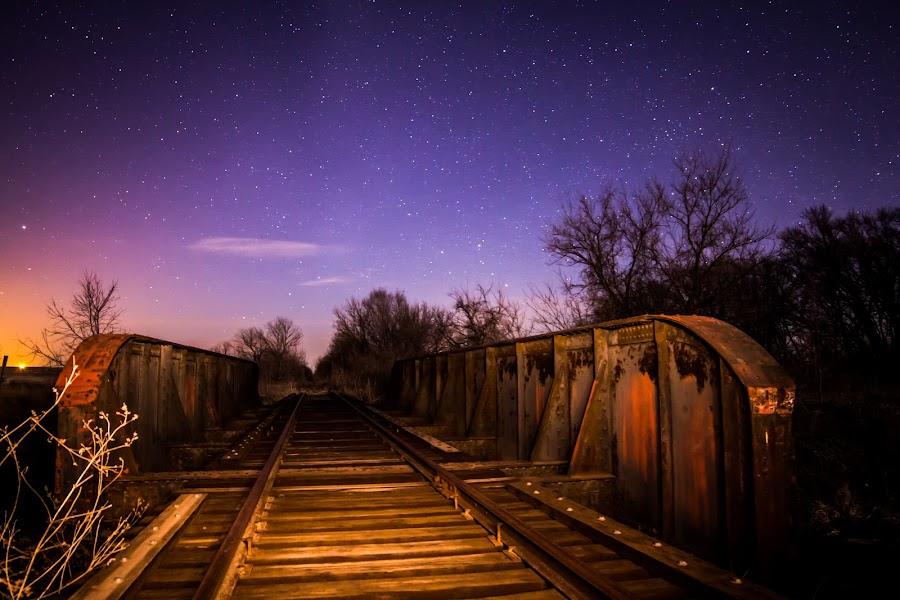 Moonlit tracks by Eric Anderson - Landscapes Starscapes ( canon, moon, railroad, stars, dark, train, night, tracks, bridge )