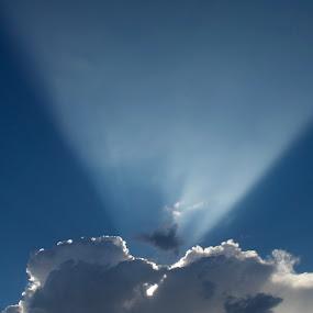 Sazer by Savannah Eubanks - Landscapes Cloud Formations ( joshua tree, sunbeam, blue, white, clouds, sun, sunray )