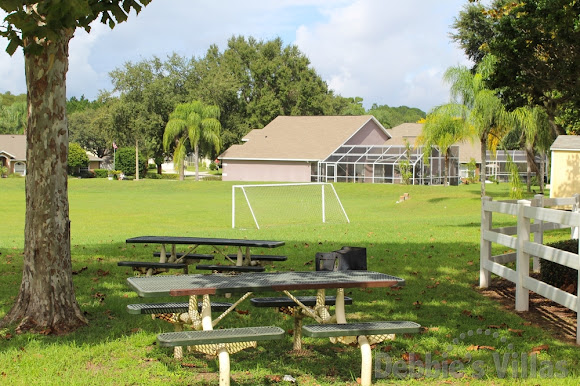 Picnic area and seating near football pitch