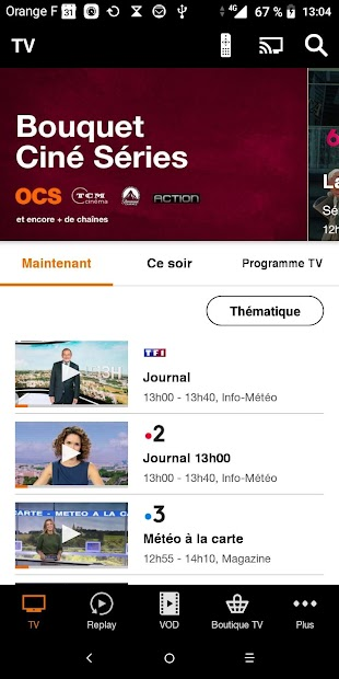 TV d'Orange, live-replay-vod Android App Screenshot