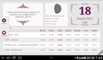 screenshot of Diyanet Takvimi