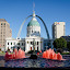 Fountain in Red by Andrea Silies - City,  Street & Park  Fountains ( water, arch, fountain, citiscape, st. louis, courthouse )