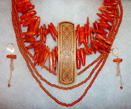 Photo: KSENIA - КСЕНЯ - carved birch bark pendant, bamboo coral, clay, rose gold vermеil lobster claw clasp/chains/lever backs $300/set now $280/set SOLD