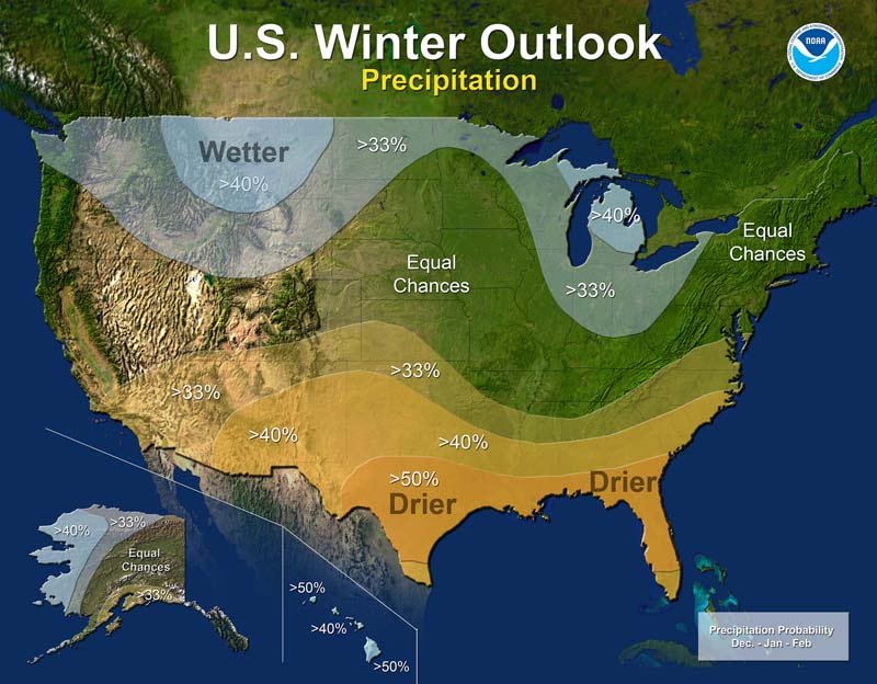 Winter 2016 - 2017 precipitation outlook. Click for larger view. (NOAA)